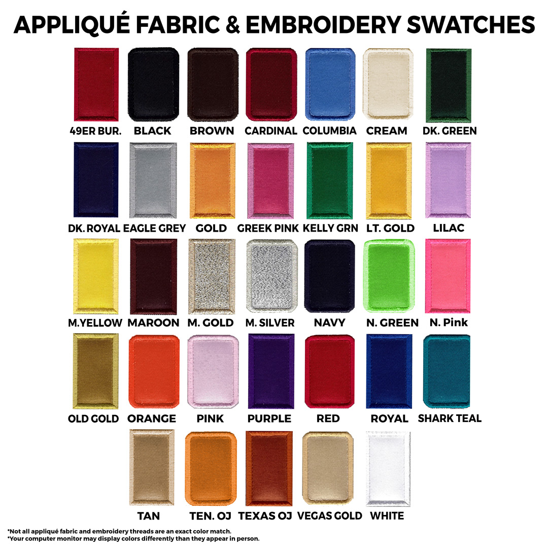 sash applique swatches